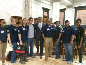 Our VISTAs with AmeriCorps VISTA director Paul Manteiro